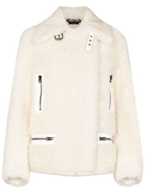 Weißer Shearling-Mantel im Oversized-Look
